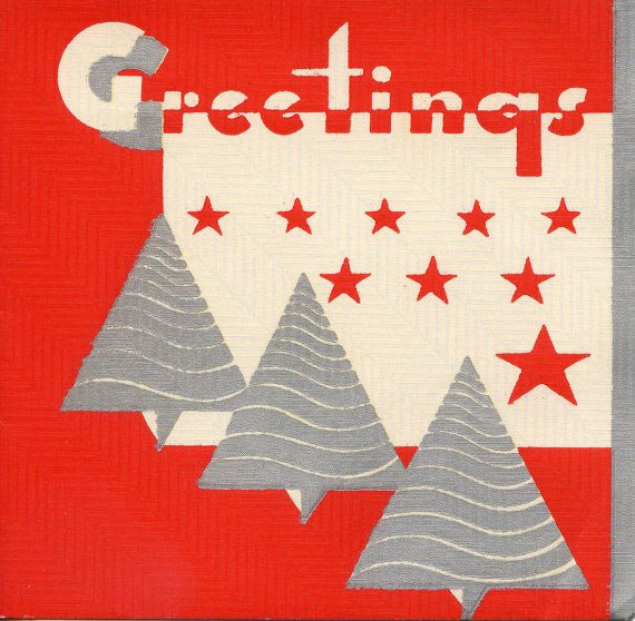 Art Deco Vintage Christmas Card Driving For Deco